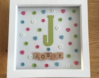 Personalised scrabble/button art