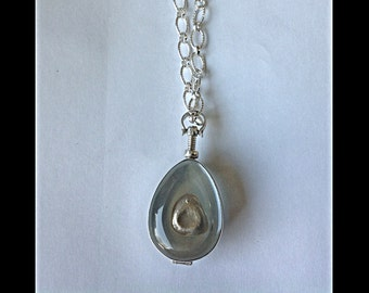 Antique Glass Locket Necklace with Thumbprint Charm