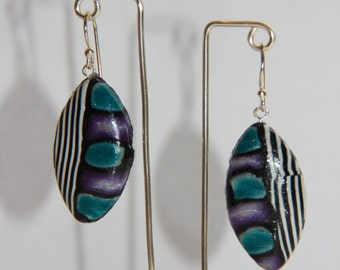 Striped Polymer Clay Earrings.