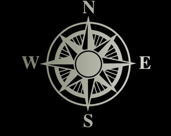 Compass decal, compass sticker, nautical decoration, compass rose sticker, laptop decal, removable wallpaper, nautical wallstickers