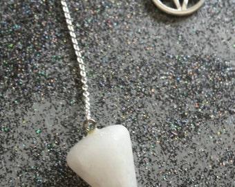 White Calcite Pendulum PENTAGRAM CHARM