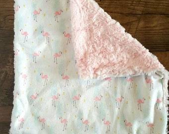 Pink Flamingo Minky security blanket.Lovey Blanket.Flamingo nursery.Girl baby shower gift.Designer minky.Flamingo Blanket.Pineapples