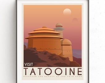 Tatooine poster. Tatooine retro travel. Starwars planet illustration. Sci fi vintage print. Luke skywalker. Landspeeder. Two mons landscape