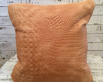 """Leather Throw Pillow Covers 16""""x16"""" Natural Finish"""