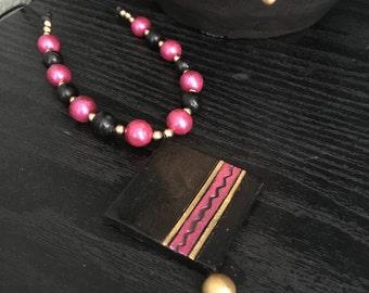 Handmade Terracotta pink and black jewelry set