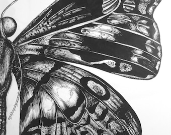 The Butterfly black ink drawing print artwork
