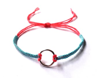 Braided bracelet sky blue and coral with silver-coated ring