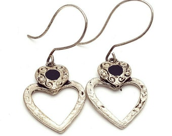 Silver and Black Two Hearts Earrings Vintage from the 90s Grunge