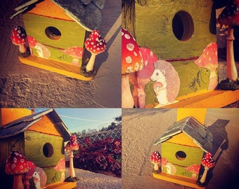 Bird House, Nesting Boxes, bird table, gift, present, garden decoration, personalised gift, slate roof, wooden birdhouse, bespoke, garden