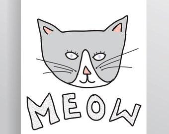 Little Grey Cat Art Print – A4
