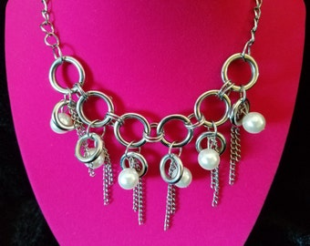 Unique and Totally 80's! Edgy Rocker Chic - Chain, Hoop and Pearl Bead Bib Necklace with Adjustable Clasp Closure