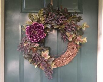 Fall Peony/Grapevine Wreath