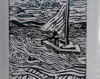 Hand Made Lino Cut  Card  Small  Boat