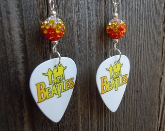 The Beatles Guitar Pick Earrings with Orange Ombre Pave Beads