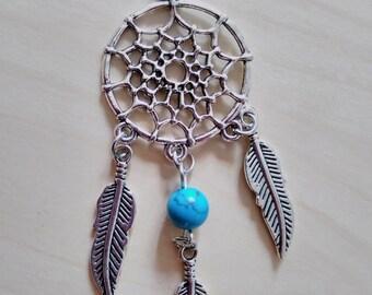 Dreamcatcher silver colour necklace blue bead long chain