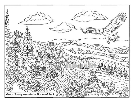 great smoky mountains national park coloring page animals nature advanced expert printable national parks hand drawn outdoors from andreasartandphoto - Advanced Coloring Pages Animals
