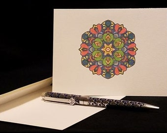 Note Cards, Stationary, Hand Colored w/Pencil, Any Occasion, Blank Inside, Thank you, Set of 8 with Envelopes: Item #NC3002 Mandala