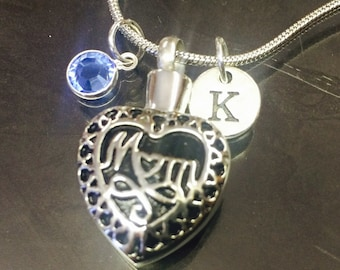 "Cremation Jewelry ""Mom"" Pendant Keepsake Urn Necklace with FREE 20"" Chain & Fill Kit Choose Initial and Birthstone"