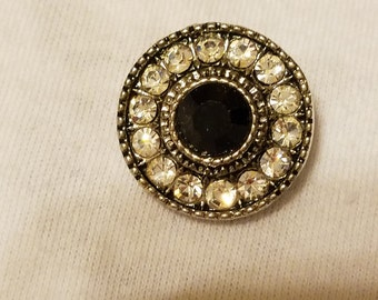 Black and white crystal button charm