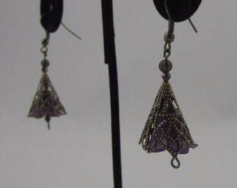 Purple Cone Flower Dangling Earrings