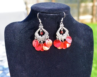Red Shell Chandelier Earrings