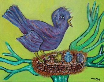 """Painting of a little bird singing, in acrylic and oil on canvas (Canvas 8 """"x 10). For children. Wall decor."""
