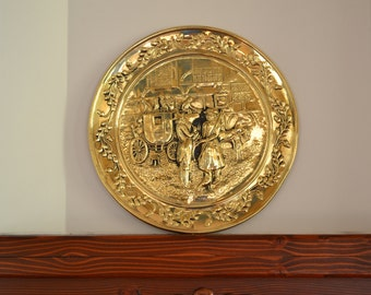 Vintage Embossed Wall Hanging Round Brass Plate/Charger - Street Scene w/ 2 Royal Men & Stagecoach