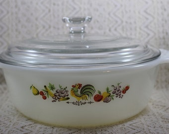 Fire King Rooster Casserole Dish with Lid, FireKing Chanticleer Casserole Dish, 1-1/2 Quart, Ovenware Anchor Hocking Baking Dish