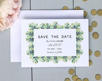 Palm Leaf Wedding Save The Date Card, Botanical Wedding Save The Date Invite, Watercolour Wedding Save The Date Card