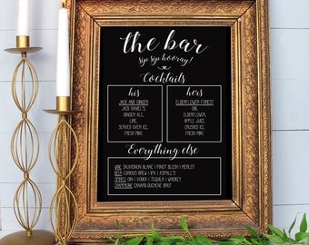 Wedding bar sign, personalised bar sign for wedding, blackboard style drinks sign for wedding