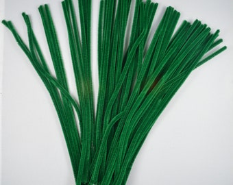 100 GREEN - Chenille Craft Stems - Pipe Cleaners - 30cm / 12""