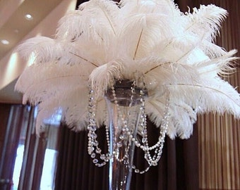 "100 pcs White TAIL Ostrich Feathers 13-16"",wedding table centerpiece,decoration,ostrich centerpiece, feather centerpiece. Exotic Feathers"
