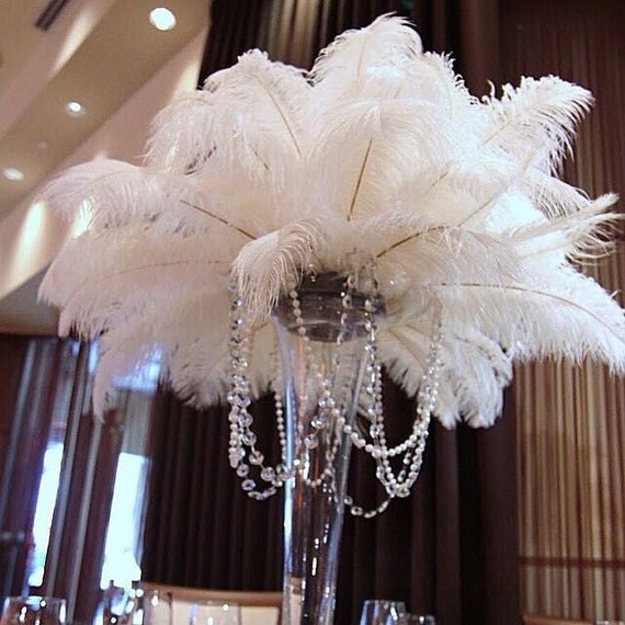 100 Pcs White Tail Ostrich Feathers 13 16wedding Table