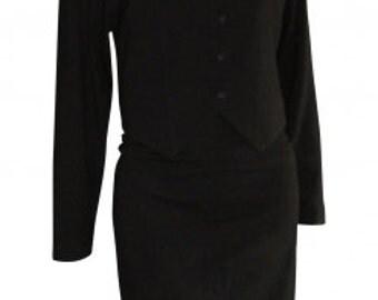 Chantal Thomass : black wool skirtsuit, size S, vintage 80s