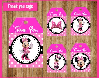 Pink Minnie mouse thank you tags instant download, Printable Minnie mouse party tags, Minnie thank you tags