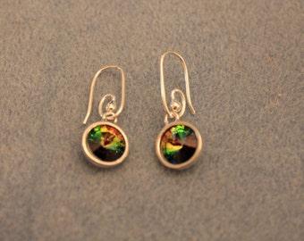 multi color Swarovski crystal sterling silver earrings