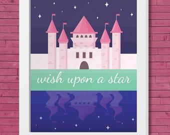 "Printable Art 8x10 Download: ""Wish Upon a Star"" Nursery or Children's Print"