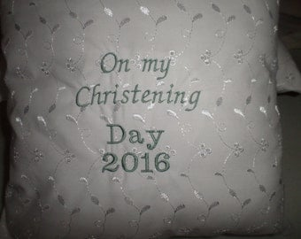 Babies white  cotton fabric christening cushion (on my christening day )