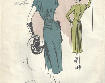 1940s WW2 Vintage VOGUE Sewing Pattern B34 DRESS (1610)  Vogue 315