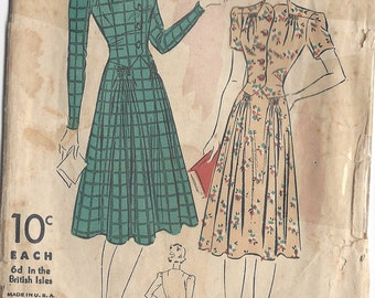 "1940s Vintage Sewing Pattern B32"" DRESS (12) By Du Barry 2305B"