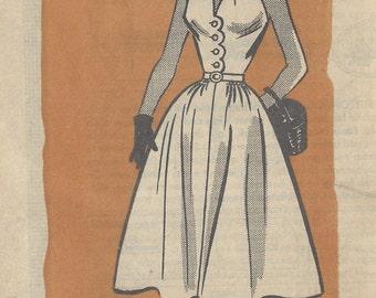 1954 Vintage Sewing Pattern HALTERNECK DRESS B29 (R999) By 'Anne Adams' 4769
