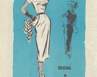 1950s Vintage Sewing Pattern B32 DRESS (R853) By Philip Hulitar Prominent Designer M309