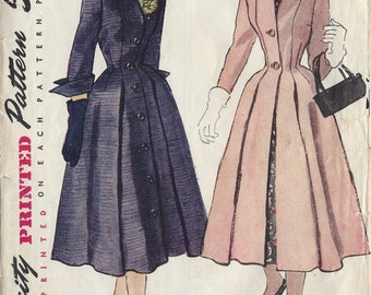 1952 Vintage Sewing Pattern B30 COAT (1172) Simplicity 8472