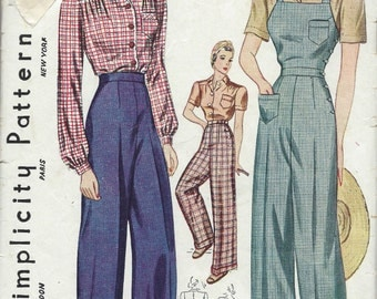 1940 Vintage Sewing Pattern B38-W32 BLOUSE-TROUSERS-OVERALLS (1232) Simplicity 3322
