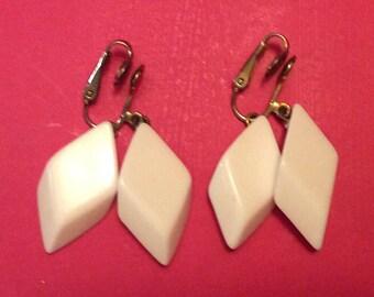 Trifari White Dangle Earrings