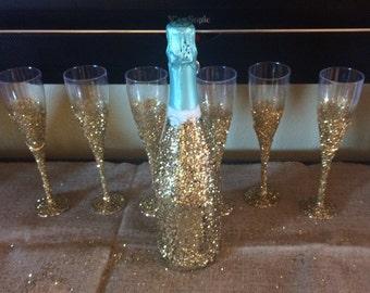 Handmade Glitter Champagne Flutes (plastic and glass -2pk) - Bachelorette Party, Weddings, Birthdays, Girls nights
