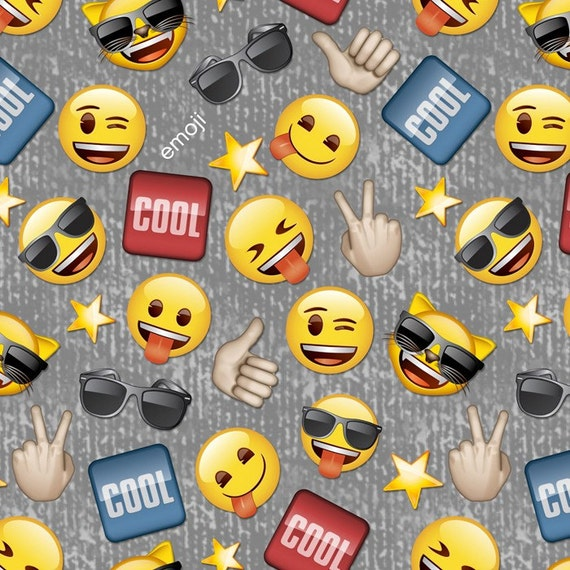 Cool guy emoji cotton fabric by the yard grey david for Emoji fabric