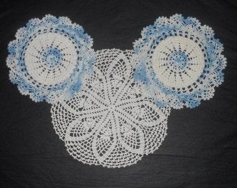 Vintage Doilies - Set of Three -  Hand Crocheted Doilies - Table Decor - 1950's - Blue and White Doilies - Set of 3 Doilies - Handmade