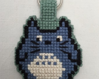 Plastic canvas, double-sided cross stitch Totoro keyring
