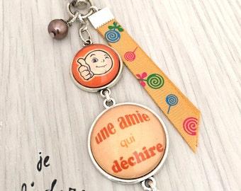 girlfriend gift Orange Keychain bag charm has sweetheart message tearing. Sweetheart REF.77cadeau